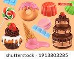 sweet set. 3d vector realistic... | Shutterstock .eps vector #1913803285