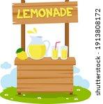 wooden lemonade stand and lemon ...   Shutterstock .eps vector #1913808172