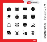 Set Of 16 Vector Solid Glyphs...