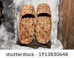 Old Bast Shoes Are Dried On A...