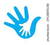 vector blue hand in hand symbol.... | Shutterstock .eps vector #1913855158