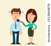 a man is nervous and in stress... | Shutterstock .eps vector #1913864878