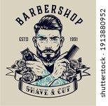 barbershop vintage print with... | Shutterstock .eps vector #1913880952