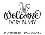 welcome every bunny text with... | Shutterstock .eps vector #1913906452