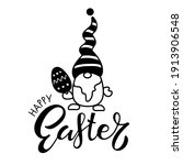 easter gnome with happy easter... | Shutterstock .eps vector #1913906548