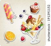 vector set of stylized food... | Shutterstock .eps vector #191391152