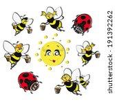 bees  ladybirds around the sun... | Shutterstock .eps vector #191392262