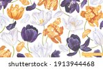 Large Floral Background With...