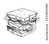 hand drawn sandwich. black... | Shutterstock .eps vector #1913994985