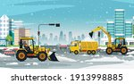 snow removal drivers are... | Shutterstock .eps vector #1913998885