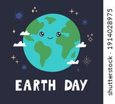 earth day banner  cute happy... | Shutterstock .eps vector #1914028975