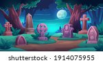 old cemetery with memorial... | Shutterstock .eps vector #1914075955
