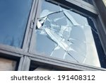 broken glass window reflecting... | Shutterstock . vector #191408312