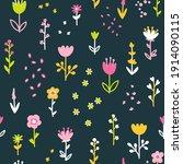 spring floral seamless vector... | Shutterstock .eps vector #1914090115