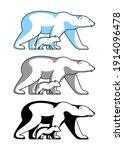 polar bear with teddy bear...   Shutterstock .eps vector #1914096478