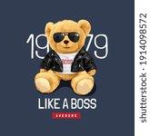 like a boss slogan with cute... | Shutterstock .eps vector #1914098572