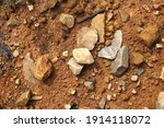 wet ground  yellow soil and... | Shutterstock . vector #1914118072