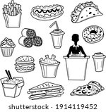 american fast food icon set in... | Shutterstock .eps vector #1914119452