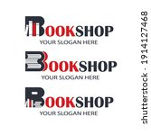 book store emblems with books... | Shutterstock .eps vector #1914127468