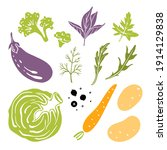 cabbage  eggplant  broccoli ... | Shutterstock .eps vector #1914129838