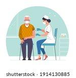 vaccination of the elderly....   Shutterstock .eps vector #1914130885