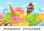 Sweet Candy Landscape. 3d...