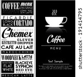 coffee poster over black... | Shutterstock .eps vector #191414795
