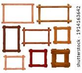 wooden frames and borders... | Shutterstock .eps vector #1914163642