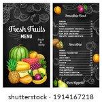fresh fruits vector sketch menu ... | Shutterstock .eps vector #1914167218