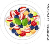 fruit salad on plate isolated... | Shutterstock .eps vector #1914242422