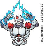 cyborg strong and evil with... | Shutterstock .eps vector #1914246712