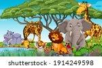 wild animals in the jungle... | Shutterstock .eps vector #1914249598