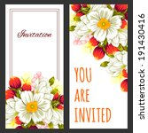 set of invitations with floral... | Shutterstock . vector #191430416