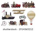 vintage passenger transport set ... | Shutterstock .eps vector #1914365212