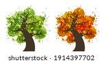 green tree and orange tree icon ... | Shutterstock .eps vector #1914397702