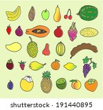 tropical fruits. hand drawn... | Shutterstock . vector #191440895