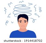 dizziness  sad and anxious... | Shutterstock .eps vector #1914418702