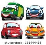 smiling car   4 cartoons of... | Shutterstock .eps vector #191444495