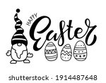 happy easter card with gnome ... | Shutterstock .eps vector #1914487648