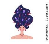 portrait of girl with raised...   Shutterstock .eps vector #1914513895