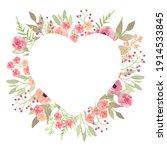 Floral Wreath Heart. Elegant...