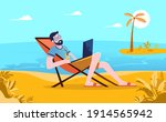 workation   man taking his work ... | Shutterstock .eps vector #1914565942