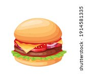 hamburger or cheeseburger... | Shutterstock .eps vector #1914581335