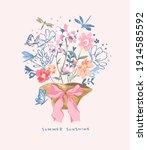 summer sunshine slogan with... | Shutterstock .eps vector #1914585592