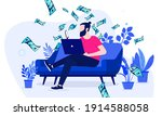 side hustle   man sitting in...   Shutterstock .eps vector #1914588058