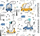 childish seamless pattern with...   Shutterstock .eps vector #1914590755