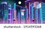 neon cyberpunk city of the... | Shutterstock .eps vector #1914593368