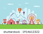 amusement park with circus...   Shutterstock .eps vector #1914612322