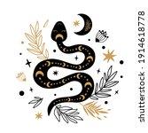 Floral Snake Vector. Mystic...