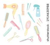 hand drawn hairdressing items ...   Shutterstock .eps vector #1914630988